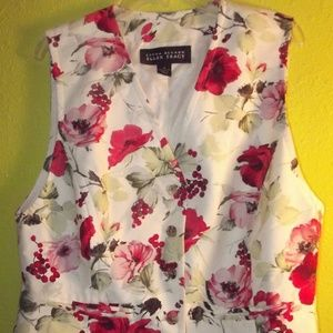 Linda Allard Ellen Tracy Womens Floral Rayon Vest